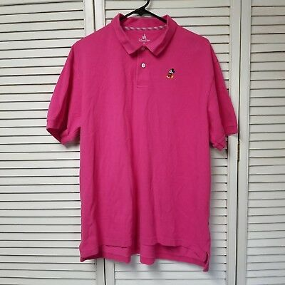 Mickey Mouse Men's Pink Polo Shirt Embroidered  XL Disney Parks
