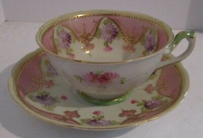 Antique Handpainted LIMOGES Cup & Saucer - Pink w/Purple Flowers, Gold Accents
