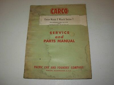 CARCO A SERIES 1 WINCH SERVICE AND PARTS MANUAL for
