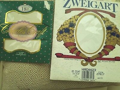 Lot of 2 ZWEIGART White and CHARLES CRAFT Natural100% Cotton Cross Stitch Fabric