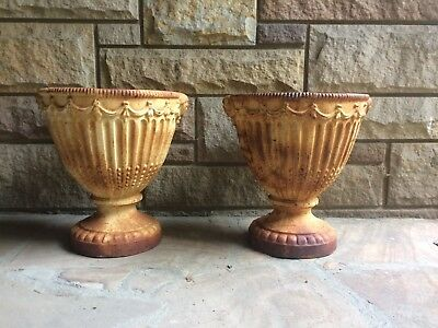 Pair Matching Antique Cast Iron Garden Urns Victorian Neoclassical Regency Style