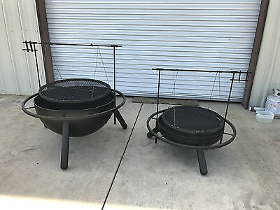 """NEW 36"""" Custom Fire Pit, Cowboy cooker, Santa Maria style grill"""