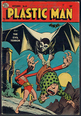 PLASTIC MAN  43  VG/FN/5.0  -  Cool cover from 1953!