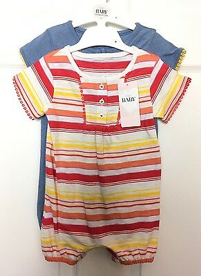 M&S Marks Baby Girl Pair Cotton Pretty Bodysuits Playsuits Set Holiday 3-6m BNWT