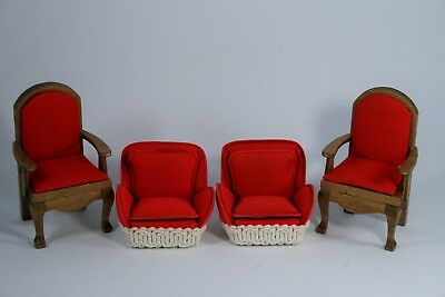 4-pc LOT VTG Dollhouse miniature red Felt CHAIRS pre-owned Christmas holiday