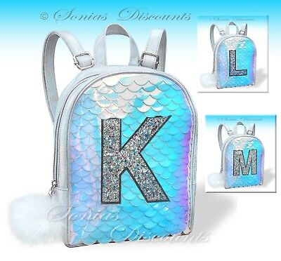 Justice Girls Initials K, L or M Mermaid Scale MINI Backpack - NWT- Very Unique!
