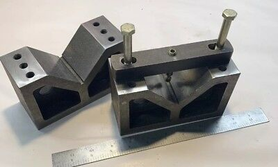 "Pair Large Cast Iron Machinist Toolmaker V Blocks 6x2.5x3.5"" Z25"