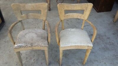 Heywood Wakefield 2 Dogbone Dining End Chairs, Need Restoration