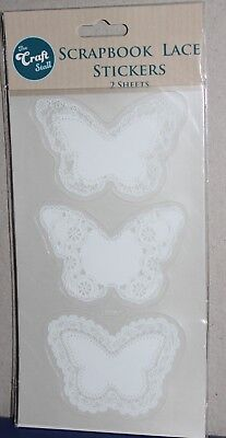 The Craft Stall Scrapbook White Lace Butterfly Stickers 2 sheets