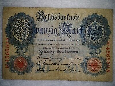 Germany-circulated note- 20 Mark German empire 1914.