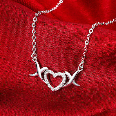 Elegant 925 Sterling Silver CZ XO Love Heart Link Chain Womens Necklace #NL176