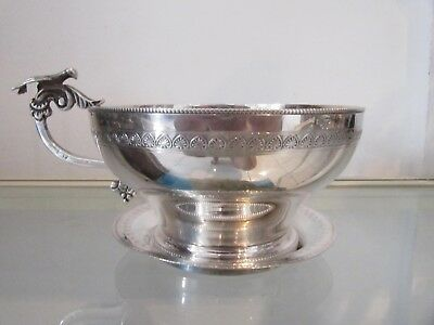 20th c (after 1946) Egyptian 800 silver tea cup & ashtray French empire st