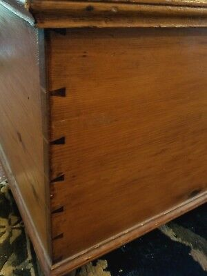 Antique Mid19th Century Pine Dovetailed Blanket Chest w/ box and drawer  Lock