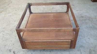 John Keal for Brown-Saltman Vintage Square Coffee/Side Table, Missing Glass Top