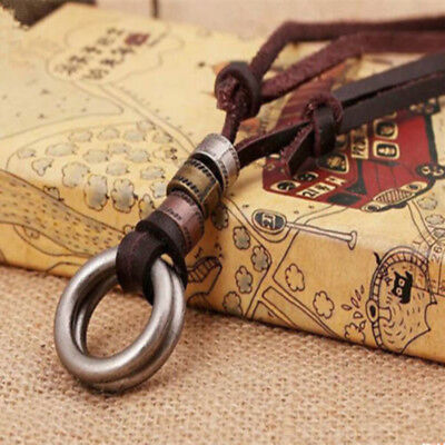 Vintage Brown Punk Leather Necklace Circle Ring Charm Pendant Cord For Men Women
