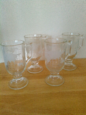 Set of 4 Nestle frosted glass pedestal mugs with world map, vintage 1970s, 8 oz.