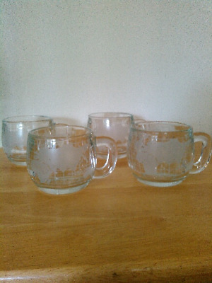 Set of 4 Nestle frosted glass coffee mugs/cups with world map, vintage 1970s
