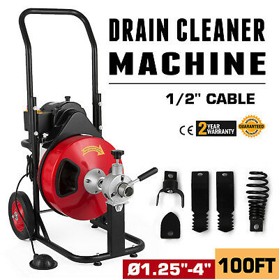 "100FT 1/2"" Drain Cleaner Sewer Snake Drain Auger Cleaner 4 cutter Foot Switch"