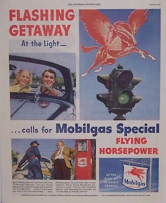 Original 1947 Mobil Gas and Oil Magazine Advertisement