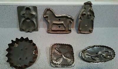 Vintage Antique Tin Cookie Cutters Lot of 6