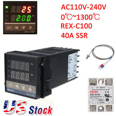 REX-C100 Digital Alarm PID Temperature Controller Machine 0℃~1300℃ AC110-240V