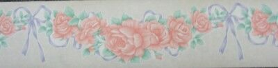 Apricot Roses on Clear background purple Bow Floral Design Wall Border Dado