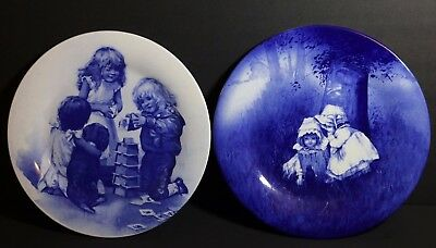 Two Djc Collectable Fine Bone China Staffordshire England Blue Plates