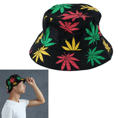 Unisex Men Women Bucket Hat Colorful Leaves Printed Foldable Outdoor Fishing
