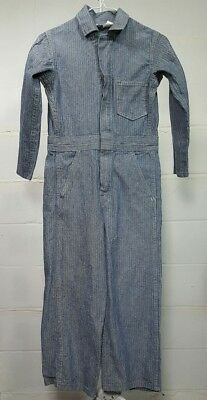 Vintage KEY Size 10 Boys Girls Coveralls Overalls Striped Denim Made USA Talon