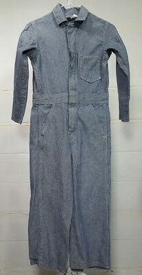 Vintage KEY Size 10 Youth Coveralls Overalls Striped Denim Made in USA Talon