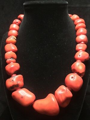 "Old Heavy 189G Antique Natural Red Salmon Coral Beads Necklace 925 Sterling 18""+"