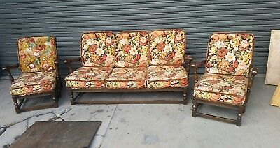 ERCOL Old English Solid Oak 3 Piece Lounge Suite  c.1970 -  Retro Lounge.