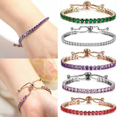 Women's Fashion AAA Diamond Crystal Bracelet Adjustable Tennis Chain Jewelry