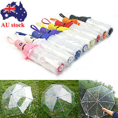 Automatic Open Close Folding Compact Windproof Rain Transparent Clear Umbrella