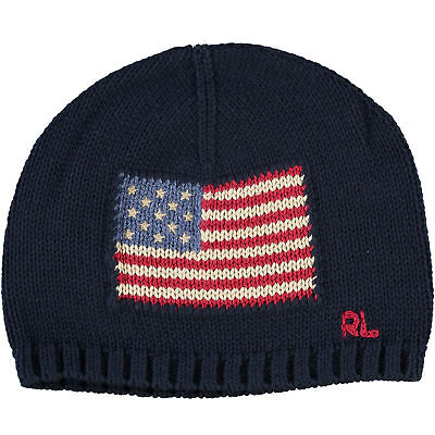 POLO RALPH LAUREN Kids' Boys' Girls' Knitted Navy Flag Hat, size 2-4 years