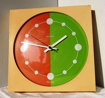 Colourful 60's Yellow Plastic Wall Clock from ROCKING
