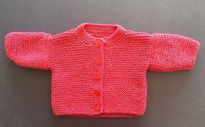 New hand knitted baby Jacket, Raspberry. Sz 00. Save post on 2 items