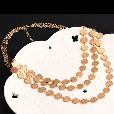 Multi-layer Gold Disc Coin Lariat Cleavage Plunge Chain Choker Necklace Pendant