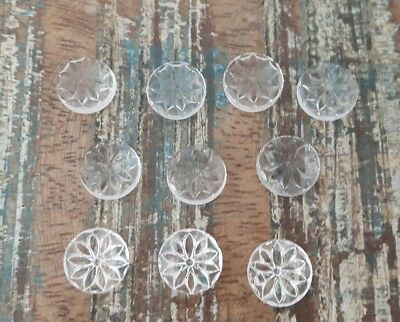 ♥Tolle alte Glascabochons Buttons kristall mit Blumenmuster DM 13 mm 10 St.♥