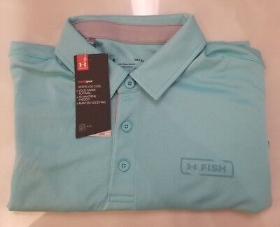 Under Armour UA Heatgear Performance Golf Polo Loose fit baby blue Size Large