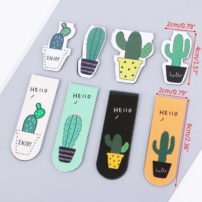 Cute Cactus Magnetic Bookmarks Book Page Marker Student Stationery Supplies Gift