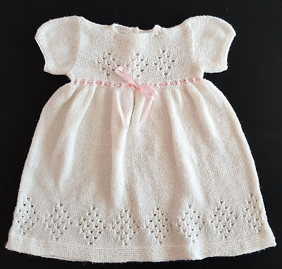 ADORABLE VINTAGE HAND KNITTED (WHITE) BABY DRESS ~ in EXCELLENT CONDITION