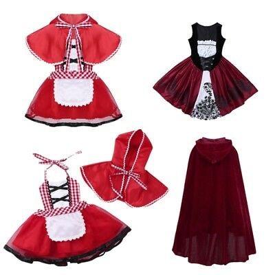 2 PCS Girls Baby Red Hooded Cloak Costume Halloween Party Fancy Dress Outfit Set