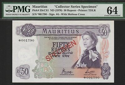 "Mauritius 50 Rupees""Specimen""Banknote ND(1978),Choice Uncirculated-64,Cat#33/CS1"