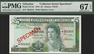 "Gibraltar,5 Pounds""Specimen""Banknote,20.11.75,Superb Gem Unc-67-PMG,Cat#21CS1"