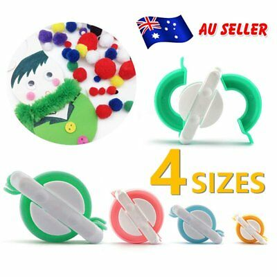 4pcs DIY Pompom Maker Fluff Ball Weaver Needle Craft Knitting Loom Wool Tool E2
