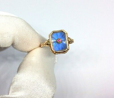 Antique 1920's Art Deco 8ct/333 Rose Gold Blue Glass & Ruby Stone Ring Size - O