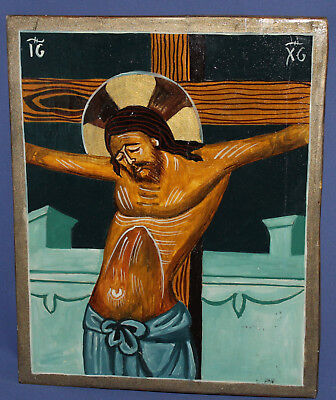 Orthodox Hand Painted Tempera On Wood Icon Crucifixion Of Jesus Christ
