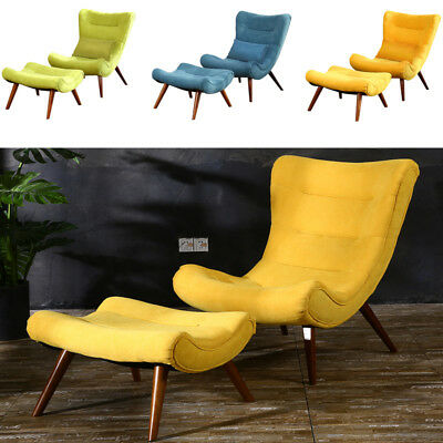 Bedroom Egg Style Chair Fabric Upholstered Tub Sofa Match Footstool Hall Lounge