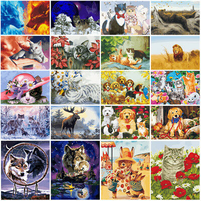 Cute Cat Dog Animal DIY Paint By Number Kit Digital Oil Painting Art Wall Decor